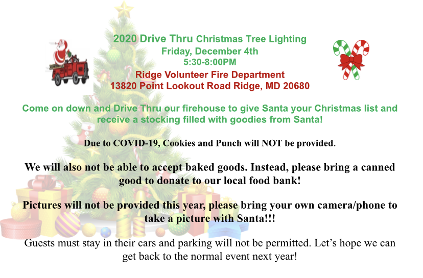 Point Lookout Christmas Luncheon 2020 Ridge Volunteer Fire Department