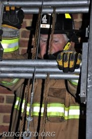 FF George Franklin healing a ladder