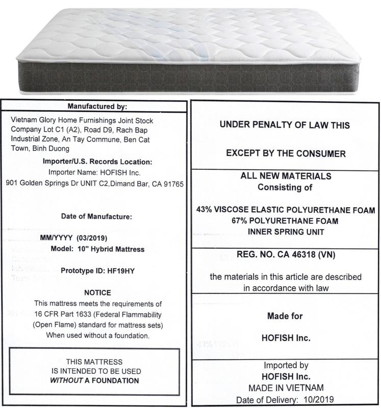 2) HOFISH 10-Inch Hybrid Certi-PUR Certified Foam and Pocket Spring Mattresses