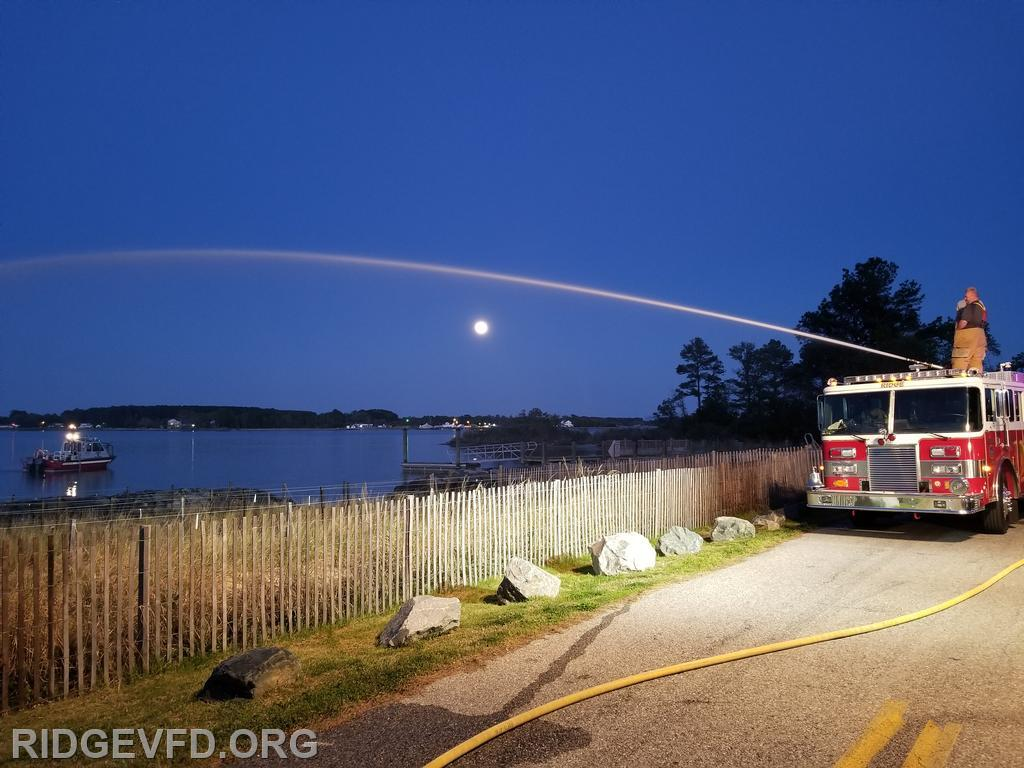 Water supply ops with the Pink Moon over Smith Creek