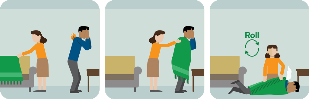"""If you cannot """"stop, drop, and roll"""", keep a blanket or towel nearby to help you or others smother flames.  Cover the person with a blanket to smother the fire."""